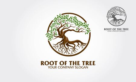 Root of the Tree logo illustrating a tree roots, branches are connected in a circular layout. Excellent logo template for fashion, landscape, gardening business or in numerous fields related to nature
