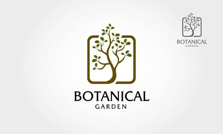 Botanical Garden Logo Illustration. Logo illustrating a tree roots are connected in a square layout. This illustration symbol of strength, longevity, freedom, fertility, hope and continuity. Vettoriali