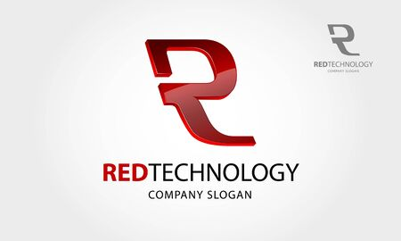 Red Technology Vector Logo. This logo letter of R or it's an initial logo, it's a 3 D vector logo with shiny effect, try to symbolize a high technology, advance technology, smart, and modernity.