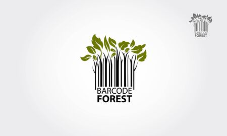 Forest logo symbol stylized as barcode. Barcode Finder Vector Logo is a designed for Any types of companies. It is made by simple shapes and looks very professional.