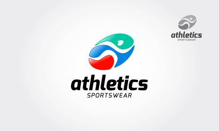 Athletics Sportswear Vector Logo Template. Fast simple stylized athlete figure. Human running vector logo. Logo template suitable for Sports related. Vettoriali