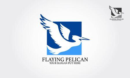 Flaying Pelican Logo Template. Pelican vector design.