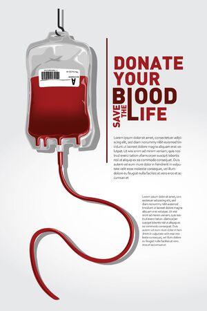 The concept of blood donation with bags, blood and transfusion icons.