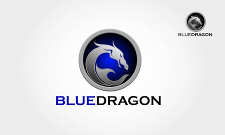 Blue Dragon Vector Logo Illustration. It's a tribal dragon logo, it's look modern and simple style. Illustration