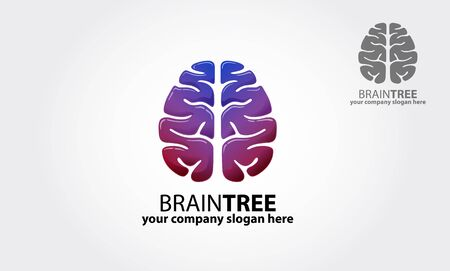 Brain Tree Vector Logo Template. Logo of a stylized tree made with brain. Excellent logo,simple and unique.