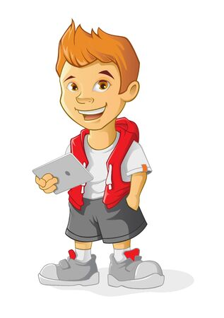 Boy Cartoon character holding a computer tablet. Vector illustration in cartoon style. Standard-Bild - 146385195