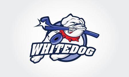 White Bulldog Vector Logo Illustration. This is a ice hockey sport logo, good for ice hockey team or ice hockey tournament.