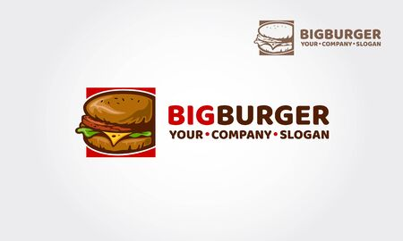 Big Burger vector logo illustration. This design will great to promote your Cafe / restaurant / food truck specification.