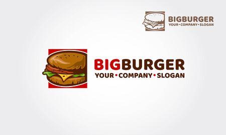 Big Burger vector logo illustration. This design will great to promote your Cafe / restaurant / food truck specification. Reklamní fotografie - 146385199