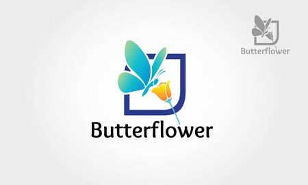 Butterfly Flower Logo Template. It's a beautiful logo, synthesis between butterfly and a flower. it's try to symbolize  somethings beauty and everything that related with a woman activity.