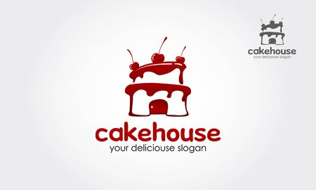 Cake house Logo Template. This sign is a cute sign that consists of cake icon, decorative design elements and delicious slogan.
