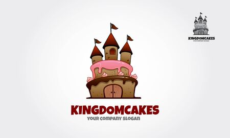 Kingdom Cakes Vector Logo Illustration. It's smart and clean logo while still having a fun side. Logo templates which can be used for cake shop or any others business related.