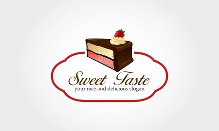 Sweet Taste Vector Logo Template. Piece of cake with flowing chocolate cream isolated Illustration. Strawberry on top of pastry. Cartoon style logo. Flat design. Illustration