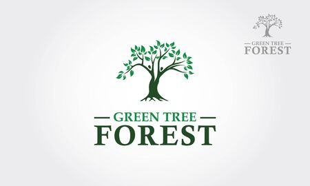 Green Tree Forest Vector Logo Template. This is a tree logo, it's good for symbolize of grow, human care, ecological, environment, protection, association, and others.