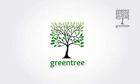 Green tree square vector logo design. Vector of abstract tree icon.
