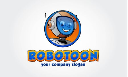Robotoon Vector Logo Cartoon. Robot head logo vector illustration