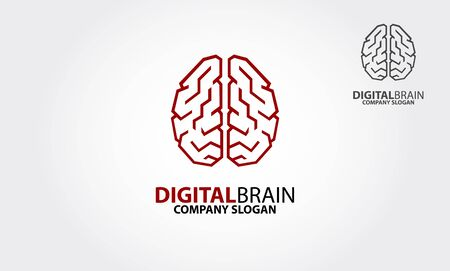 Digital Brain Vector Logo Template. A modern logo featuring a human brain made from lines. Digital Brain logo is a professional clean and elegant logo for company or personal. Vectores