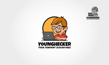 Young Hacker Logo Cartoon Mascot. Vector logo illustration. Vector cartoon working with his laptop. A cute and Smart Mascot Boy / Character for your web design needs. Иллюстрация