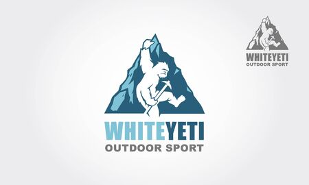 White Yeti Outdoor Sport Vector Logo Illustration.  Yeti, Vector logo template. he vector logo template is suitable for business and product names.