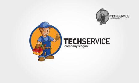 Tech Service Vector Logo Illustration. Handyman Services logo template 2.0 for Your Company. Ilustracja