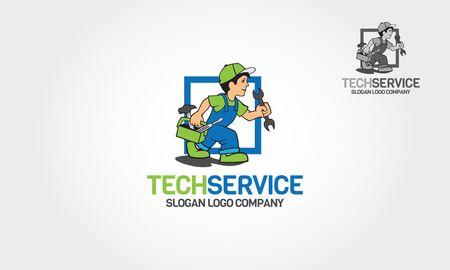Tech Service Vector Logo Cartoon. Handyman Services Emblem for Your Company.