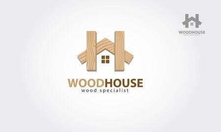 Holzhaus-Vektor-Logo-Vorlage. Vektor-Logo-Design-Vorlage des Holzhauses. Es ist ein modernes, einfaches und sauberes Logo-Design, Holzspezialist.