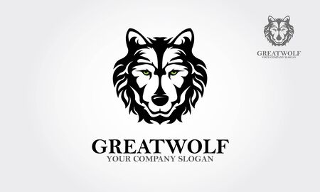 Great Wolf Vector Logo Template. Wolf Head Symbol. Great for Badge Label Sign Icon Logo Design. Creative Vector illustration.