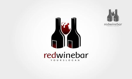 Red Wine Bar Vector logo Template. Logo of wine bottles utilizing negative space. Vector flat illustration. For web, logotype, info graphics for shop.