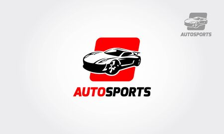 Auto Sports Vector Logo Template. Silhouette of modern racing car for automotive sporting competition emblem or logo design. Vectores