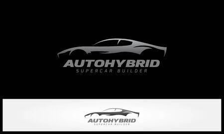 Auto hybrid SuperCar Builder Vector Logo Illustration. Super car Silhouette Design.