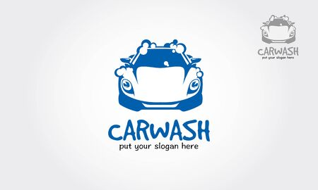 Car Wash Bubbles Service Cartoon Logo Illustration. Flat icon modern vector logo template on white background.