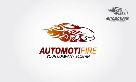 Automotive Fire Vector Logo. This logo that suitable for related to workshop, service, automobile, automotive, racing, machinery, technology, etc.This is a modern, clean and elegant sport car. Vectores