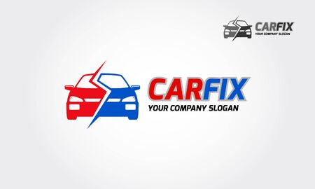Car Fix Vector Template.  Logo of stylized car suitable for fixing car, insurance, and renting. Ilustracja