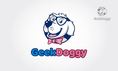 Geek Doggy Vector Logo Illustration. High quality vector mascot for your all business.