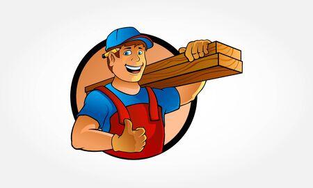 Carpenter Cartoon Illustration. Cartoon illustration of a handyman. Carpenter carrying planks of wood.