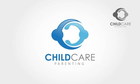 Child Care Parenting Vector  Illustration. Abstract union circle shape  design vector template.