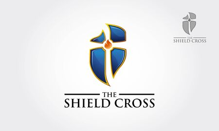 The Shield Cross Vector Logo Illustration. Template logo for the school or medical in the form of a cross on a white background.