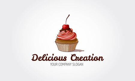 Delicious Creation Vector Logo Template. Sweet Cake is a bakery logo in very light pinks and pastel colors. Logo templates which can be used for cake shop or any others business related. Foto de archivo - 149204218