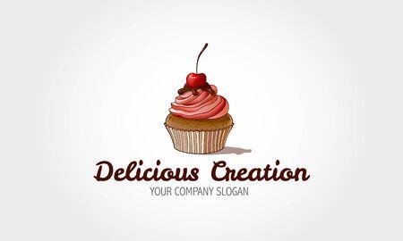 Köstliche Kreation Vektor-Logo-Vorlage. Sweet Cake ist ein Bäckerei-Logo in sehr hellen Rosa- und Pastellfarben. Logo-Vorlagen, die für Konditoreien oder andere geschäftliche Zwecke verwendet werden können.