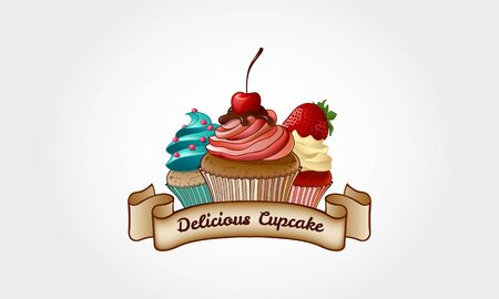 Delicious Cupcake Vector Logo Illustration. Cupcake Bakery Logo Template. Logo templates which can be used for cupcakes shop, cake shop or any others business related.