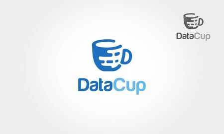 Data Cup Vector Logo Template. Good idea for data cup logo. A great logo suitable for hosting companies, storage space companies, software, IT services etc.