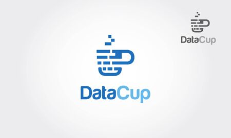 Data Cup Vector Logo Template. Logo of a stylized cup built with pixels (data). A simple and effective logo for an internet marketing business, statistic or analytic.