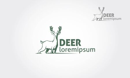 Deer silhouette standing vector logo template on white  background. Vector logo Illustration. Vectores