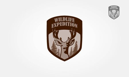Wildlife Expedition Vector Logo Illustration. Artistic vector logo silhouette of a head deer.