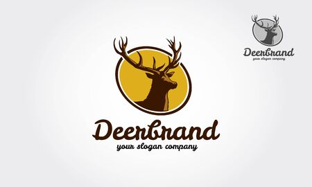 Deer Brand Vector Logo Template.  Logo with silhouette of deer. Vector illustration, reindeer logotype for hunting club or touristic camp. Illustration