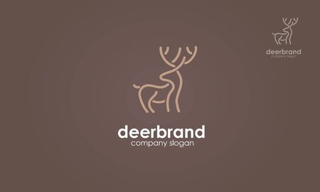 Deer Brand Vector Logo Template. Deer line style. This stylish logo design could be used for different purposes for a company, product, service or for all your ideas. Vectores