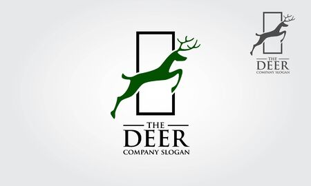 The Deer Vector Logo. Logo template suitable for businesses and product names. This stylish logo design could be used for different purposes for a company, product, service or for all your ideas. Illustration