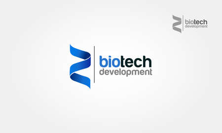Biotech Development Vector Logo Template. Blue cross ribbon vector design logo. Foto de archivo - 160179067