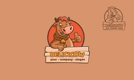 Delicicow Logo Cartoon Character. This image is a cow cartoon character logo template with thumb up, this image good for symbolize something that fun, happy feel, or enjoying.
