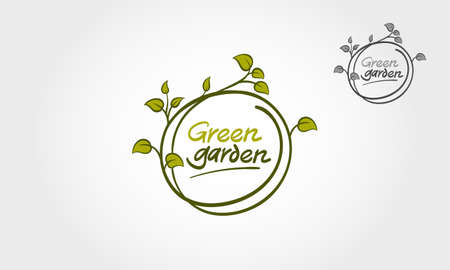 Green Garden Vector Logo Illustration. Clean and outstanding logo design concept. Green leaves forming circle with decorative elements. Vectores